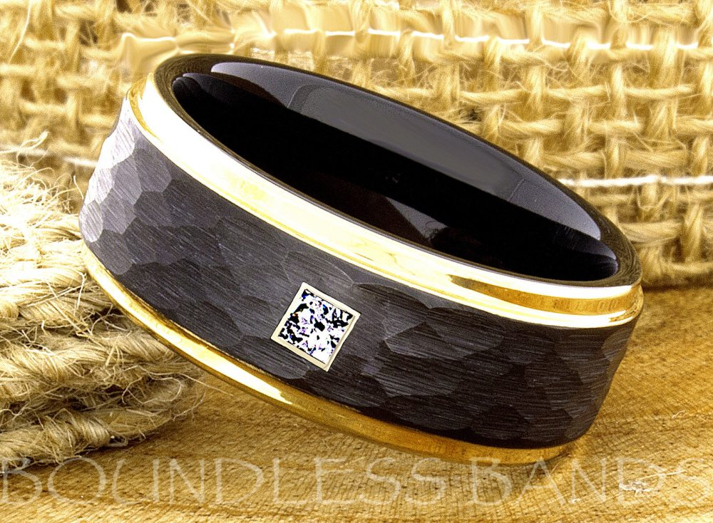 Tungsten Ring, Mens Black Diamond Wedding Ring, Wedding Square Hammered