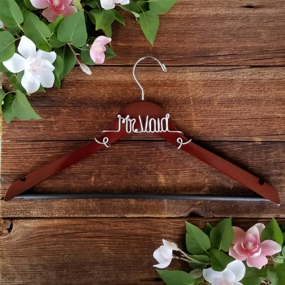 Groom Wood Suit Hanger Personalized