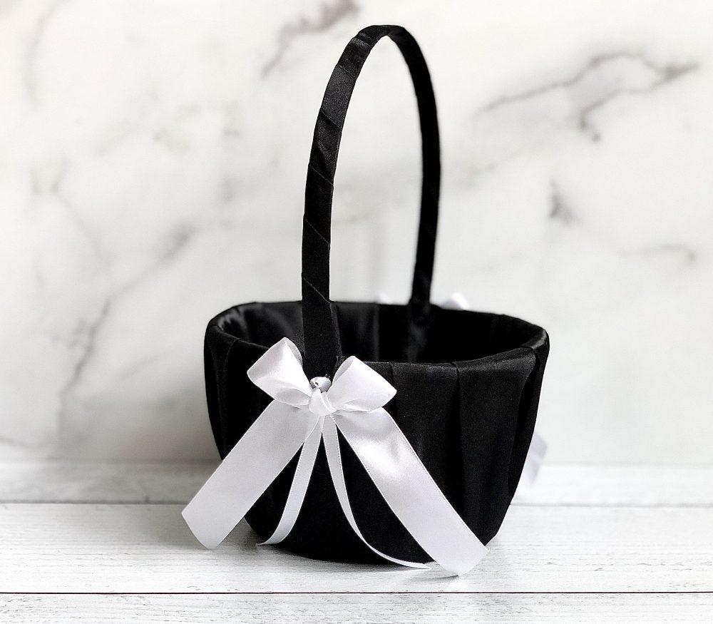 Black & White Flower Girl Basket, Wedding Flower Girl Baskets, Baskets Black, Gift, Basket
