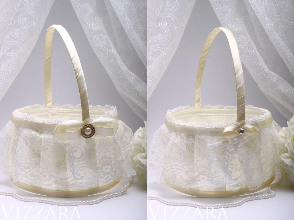 Flower Basket Set Baskets Vintage Wedding Flower Girl Basket Personalized Ivory Lace Decor