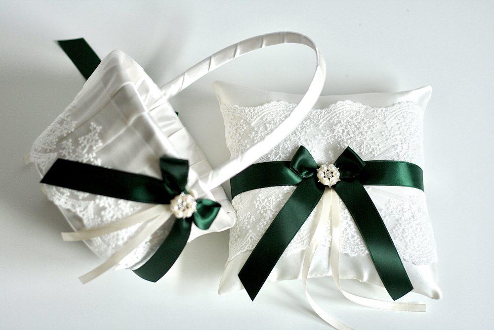 Flower Girl Basket Hunter Green, Ring Bearer Pillow Ivory & Lace Basket, Wedding Wedding, Wedding Flower Girl Baskets