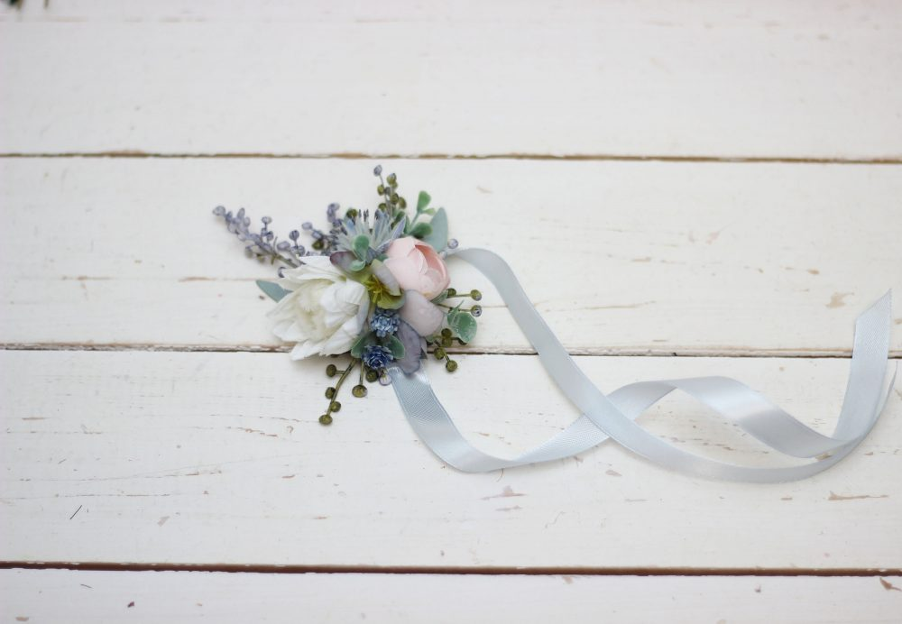 Dusty Blue Flower Accessories Pale Wedding Flower Girl Bracelet Wrist Corsage Bridesmaid Flowers