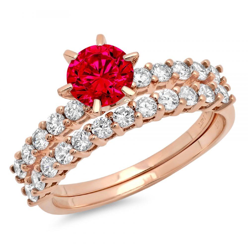 3.0Ct Round Cut Pave Red Ruby Cz Vvs1 Designer Promise Engagement Wedding Bridal Ring Band Set 14K Rose Gold