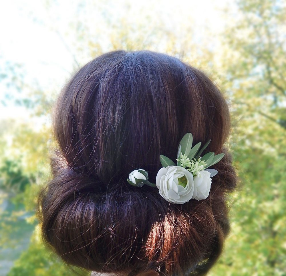 White & Green Flower Hair Comb Bridal Piece Floral Clip Olive Leaves Hairpiece Wedding Headpiece