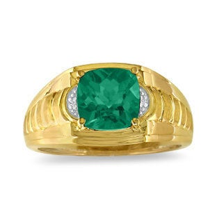 Cushion Cut Emerald & Diamond Men's Ring, Mens Gemstone Rings, Rings For Men, Jewelry, Birthstone Gold Stone Ring
