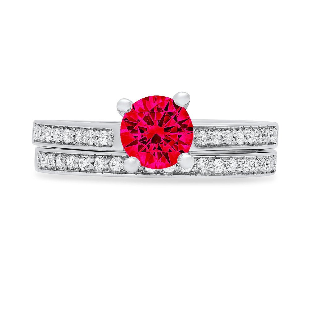 1.2 Ct Round Cut Pave Red Ruby Cz Promise Bridal Ring Band Set 14K White Gold