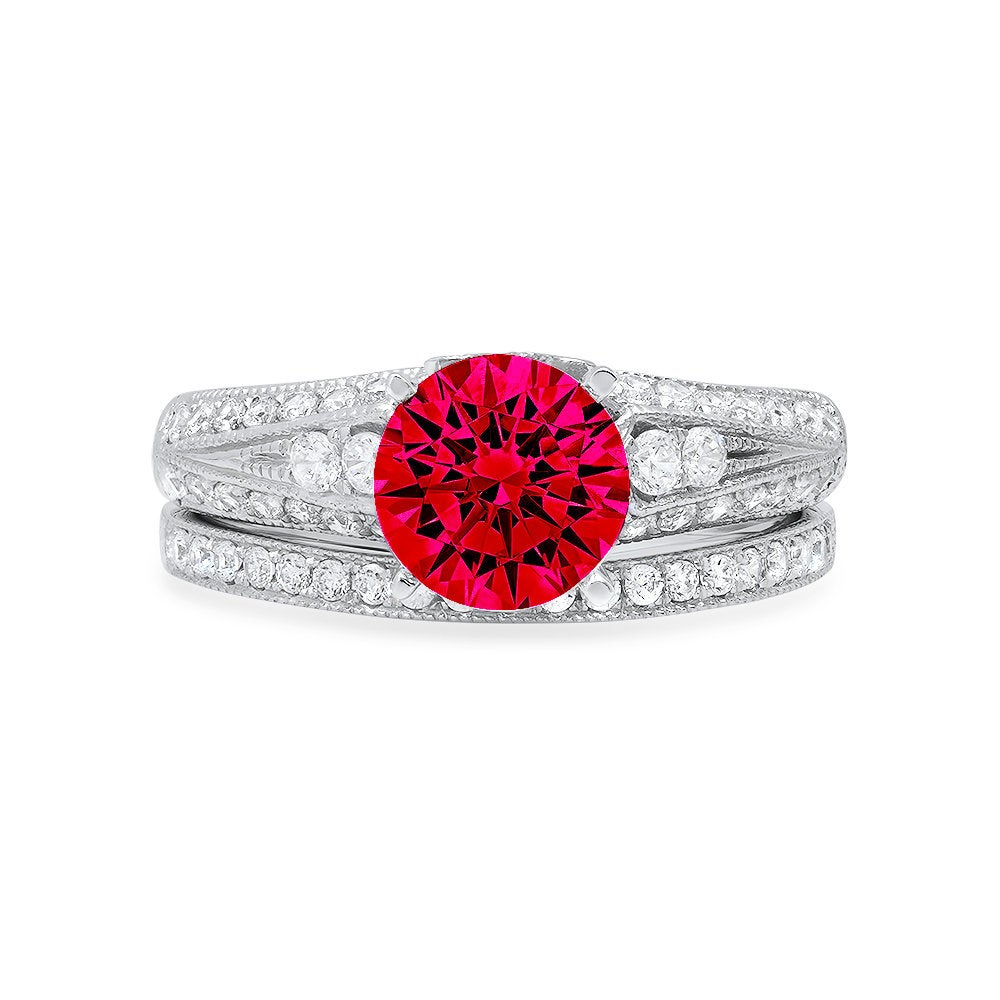 2.1 Ct Round Cut Pave Red Ruby Cz Promise Bridal Ring Band Set 14K White Gold