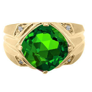 Large Diamond Mens Emerald Ring in White Rose Yellow Black Gold Silver, Rings May Birthstone Men Jewelry Green