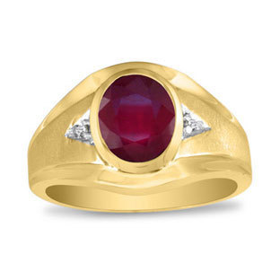 Oval Ruby Diamond Dual Finish Men's Ring in White Rose Yellow Black Gold, July Birthstone Jewelry, Men Gemstone Ring, Mens Unique Rings