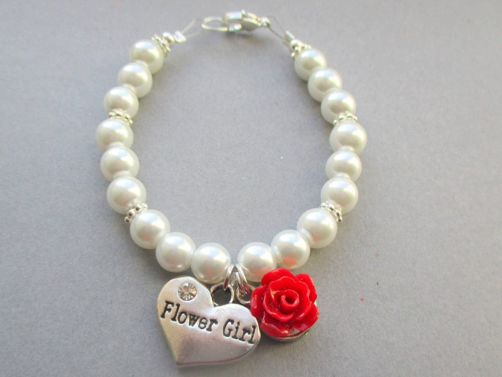 Red Rose Flower Girl Bracelet, Gift For Pearls, Toddlers Wedding Little Jewelry, Orange Bracelet