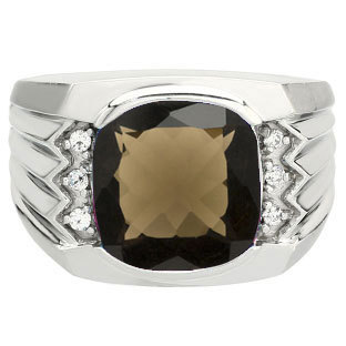 Large Men's Cushion Smoky Quartz Diamond Ring Gold Silver, Mens Gemstone Rings Men Jewelry Birthstone
