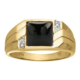 Men's Square Black Onyx Diamond Ring in White Rose Yellow Gold Silver, Mens Birthstone Rings, December February Men Jewelry