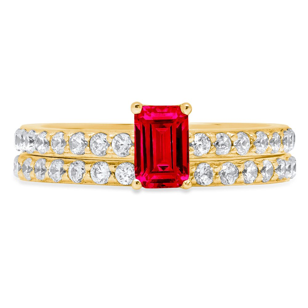 1.41 Emerald Round Cut Red Ruby Cz Vvs1 Designer Promise Engagement Wedding Bridal Ring Band Set 14K Yellow Gold