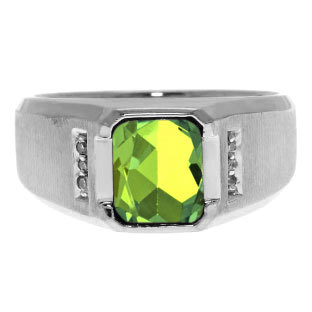 Diamond Emerald Cut Peridot Gemstone Men's Ring in White Rose Yellow Black Gold Or Silver, Mens Green Rings August Birthstone Stone