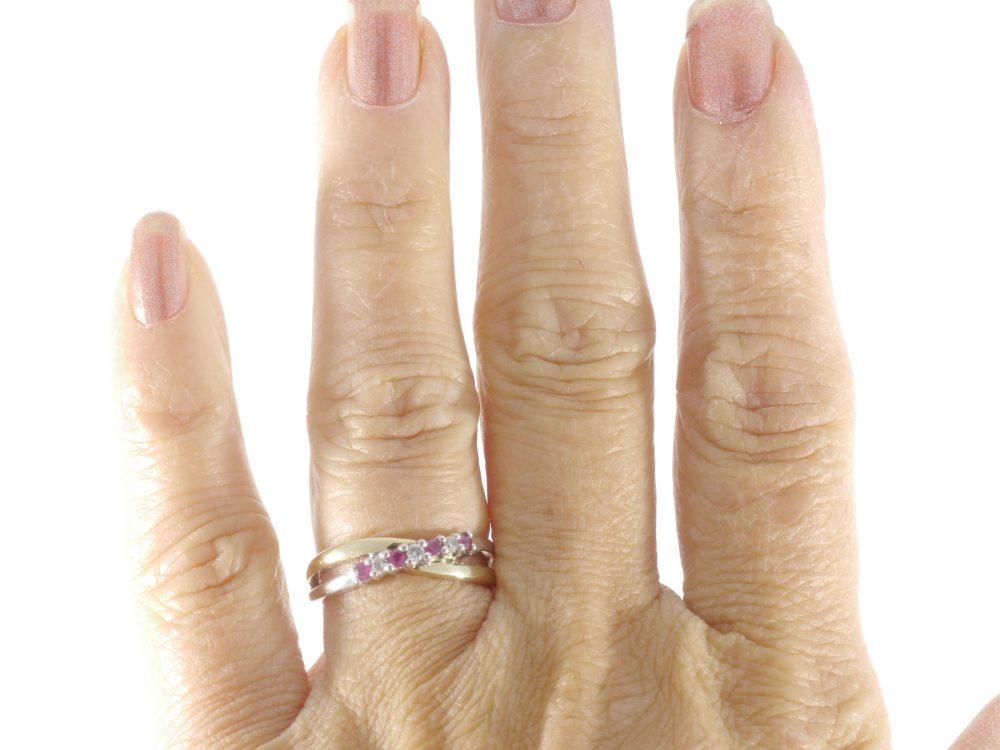 10K Yellow White Gold Two Tone Ruby Diamond Engagement Wedding Ring Band