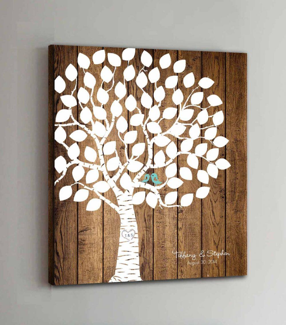 75 Guest Canvas Wedding Book Wood Tree Guestbook Canvas Alternative