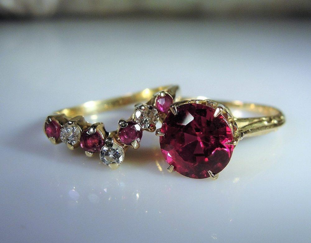 10K Victorian Bridal Rings, Ruby Engagement Ring, 14K & Diamond Chevron Wedding Band, Free Sizing