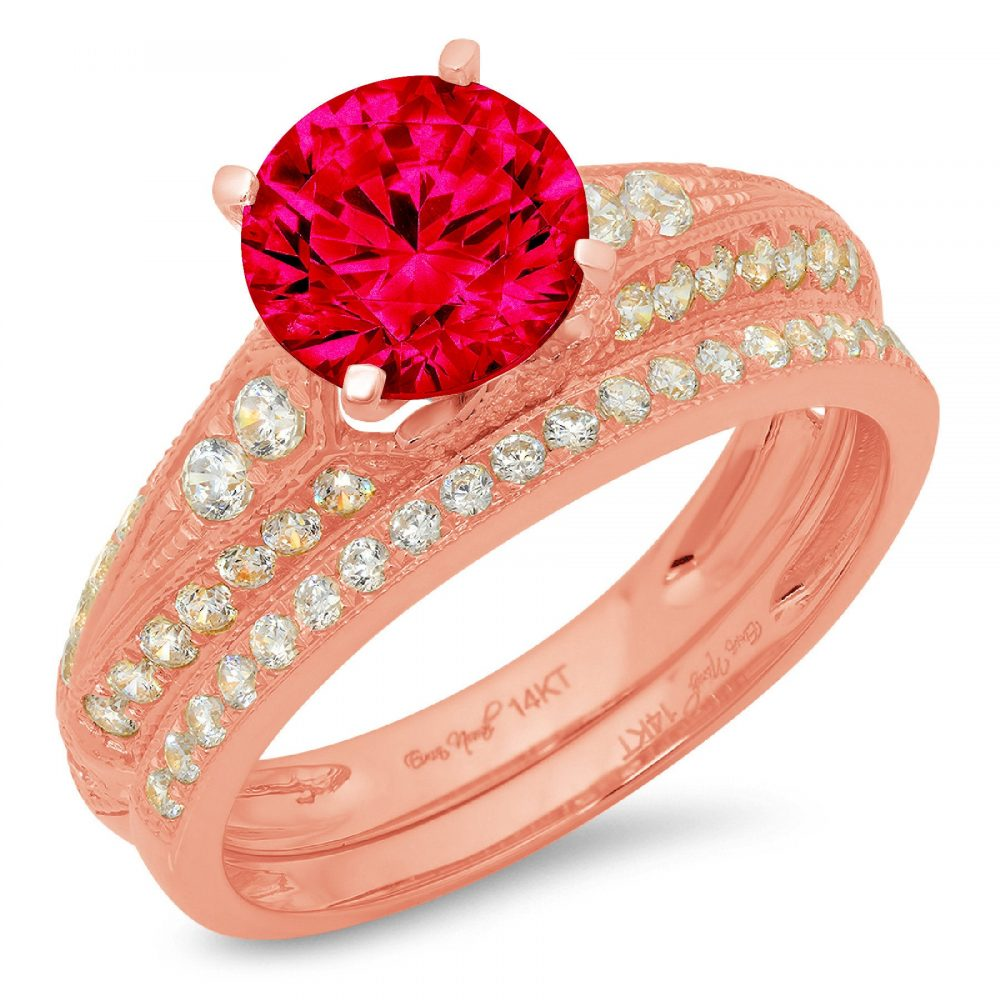2.1 Round Cut Pave Red Ruby Promise Bridal Ring Band Set 14K Rose Gold