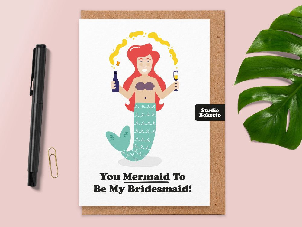 Funny Bridesmaid Card.you Mermaid To Be My Bridesmaid.bridesmaid Card Funny.mermaid Card.for Sister.for Best Friend.maid Of Honour.thank You