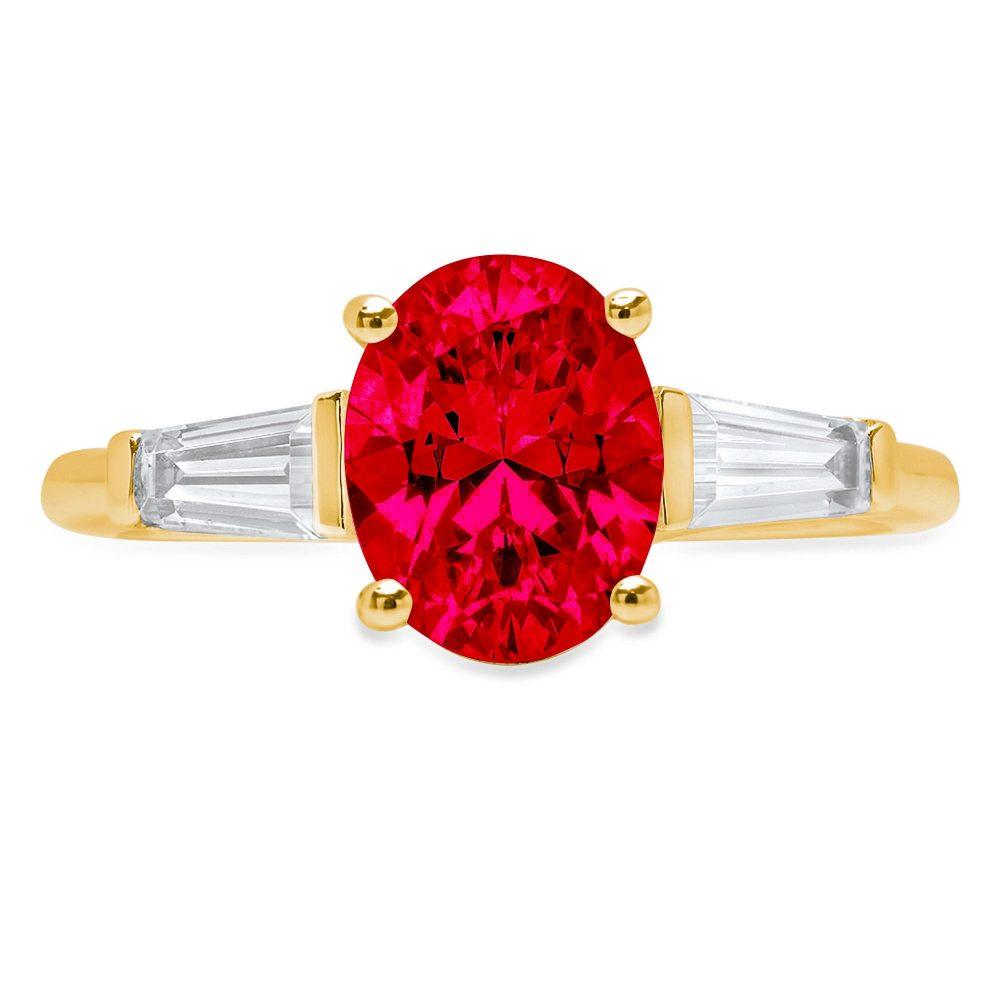 1.41Ct Emerald Round Cut Red Ruby Cz Vvs1 Designer Promise Engagement Wedding Bridal Ring Band Set 14K Rose Gold