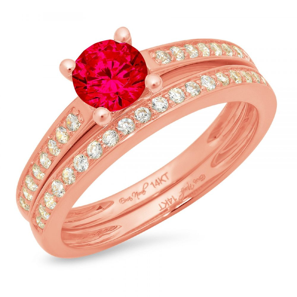 1.2 Ct Round Cut Pave Red Ruby Cz Promise Bridal Ring Band Set 14K Rose Gold