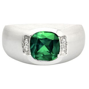 Men's Silver Antique Cushion Cut Emerald Diamond Ring, Mens Gemstone Rings, Rings For Men, Jewelry, Gold Birthstone Ring