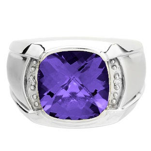 Big Men's Diamond Cushion Cut Amethyst Ring in White Rose Yellow Black Gold Silver, Mens Purple Rings, February Birthstone Jewelry