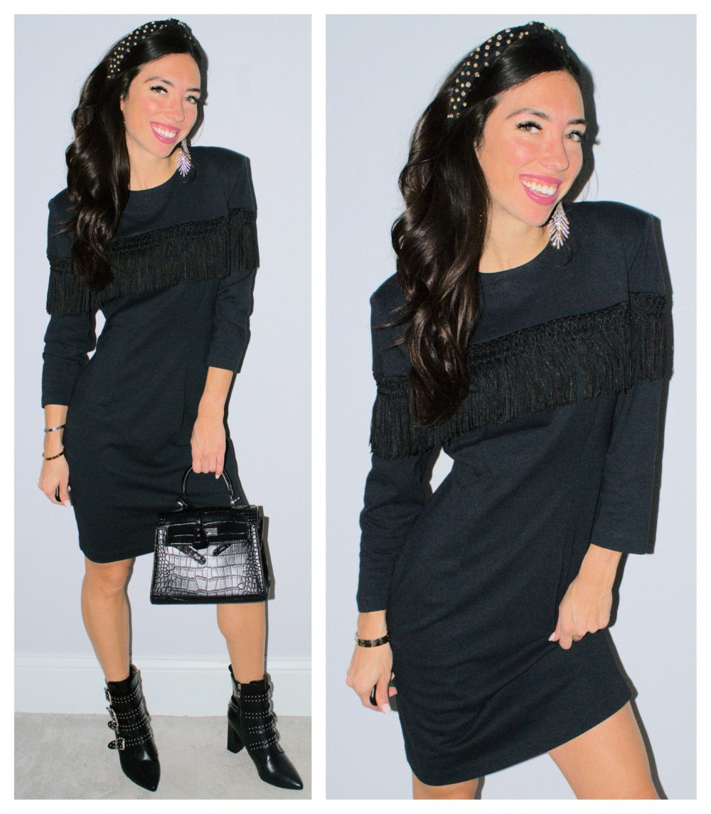 Black Fringe Dress Midi Length Little Cocktail Party Vintage 90's Frayed Trim Modern Boho Bohemian Embellished Size 7 Hipster