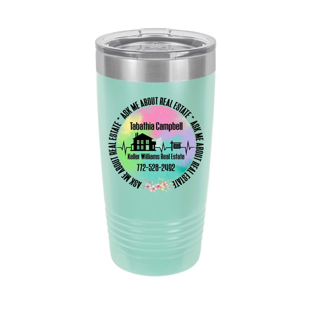 Ask Me About Real Estate Personalized Uv Printed Insulated Stainless Steel 20 Oz Tumbler, Realtor, Broker