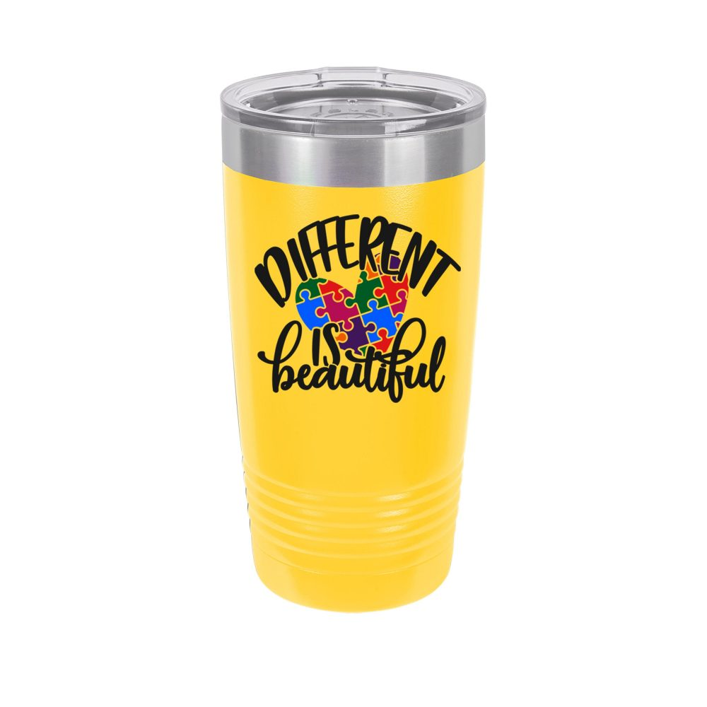 Autism Awareness Different Is Beautiful Personalized Uv Printed Insulated Stainless Steel 20 Oz Tumbler