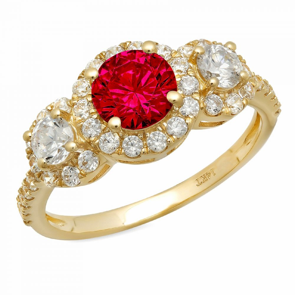 1.75Ct Round Halo 3 Stone Red Ruby Cz Vvs1 Classic Promise Wedding Engagement Designer Ring Solid 14K Yellow Gold