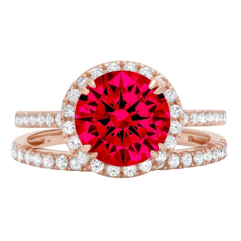2.72Ct Round Cut Halo Pave Red Ruby Cz Vvs1 Designer Promise Engagement Wedding Bridal Ring Band Set 14K Rose Gold