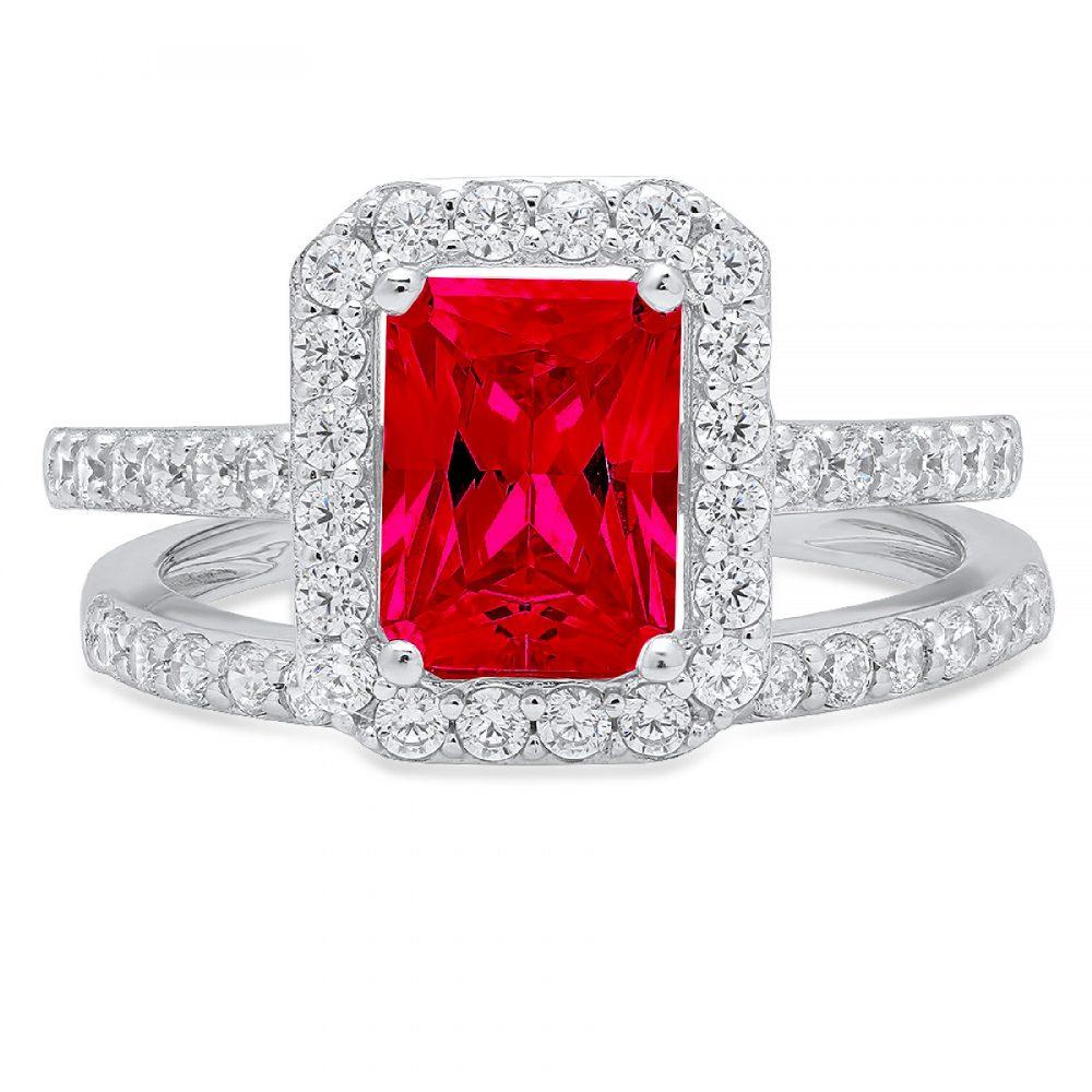 2.20Ct Emerald Round Cut Halo Red Ruby Cz Vvs1 Designer Promise Engagement Wedding Bridal Ring Band Set 14K White Gold