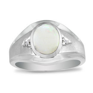 Oval Opal Diamond Dual Finish Men's Ring in White Rose Yellow Black Gold, Rings For Men, Mens Gemstone Rings, Birthstone