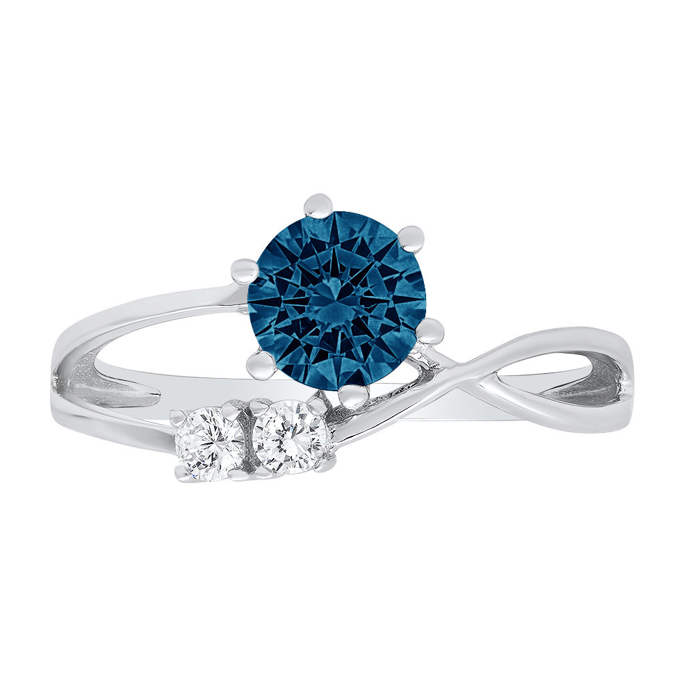 0.85Ct Round 3 Stone Love London Blue Topaz Statement Engagement Ring Real 14K White Gold