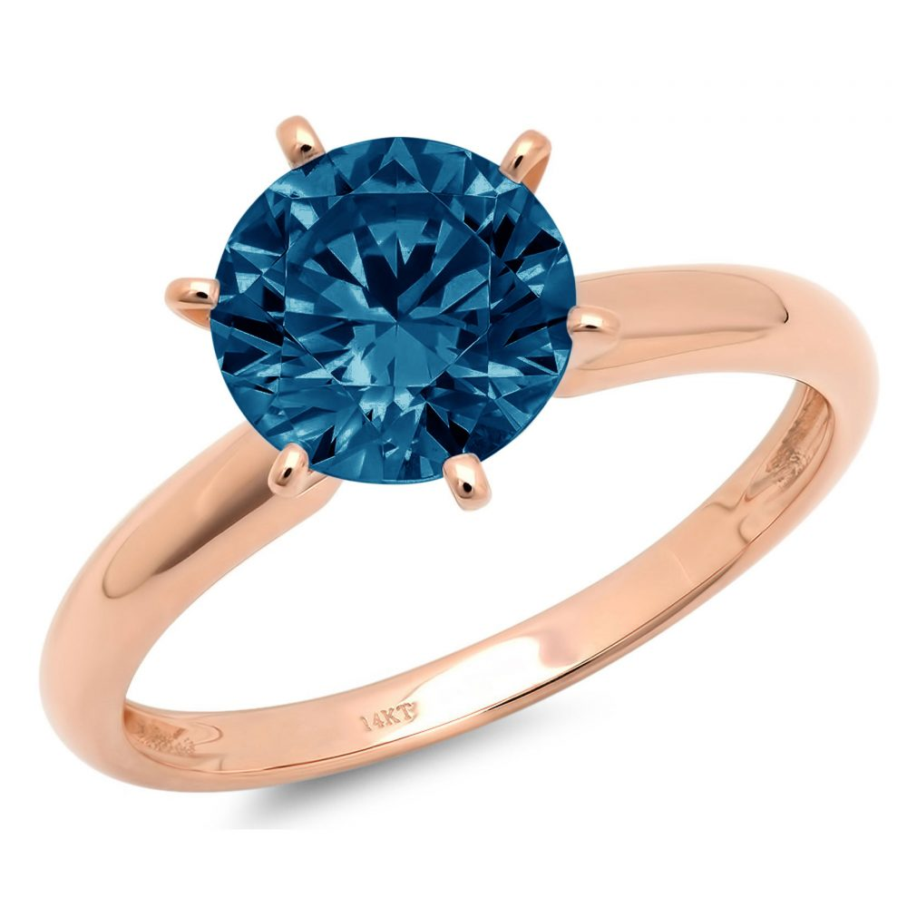 0.50 Ct Round Cut Natural London Blue Topaz Classic Wedding Engagement Bridal Promise Designer Statement Ring Solid 14K Rose Gold
