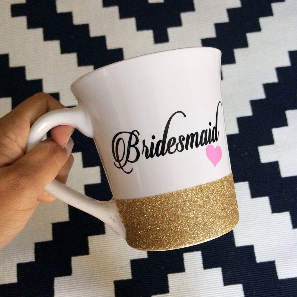 Bridesmaid //Glitter Dipped Coffee Mug//stoneware Mug//Personalized Mug//Bridesmaid Gift//Bride Gift