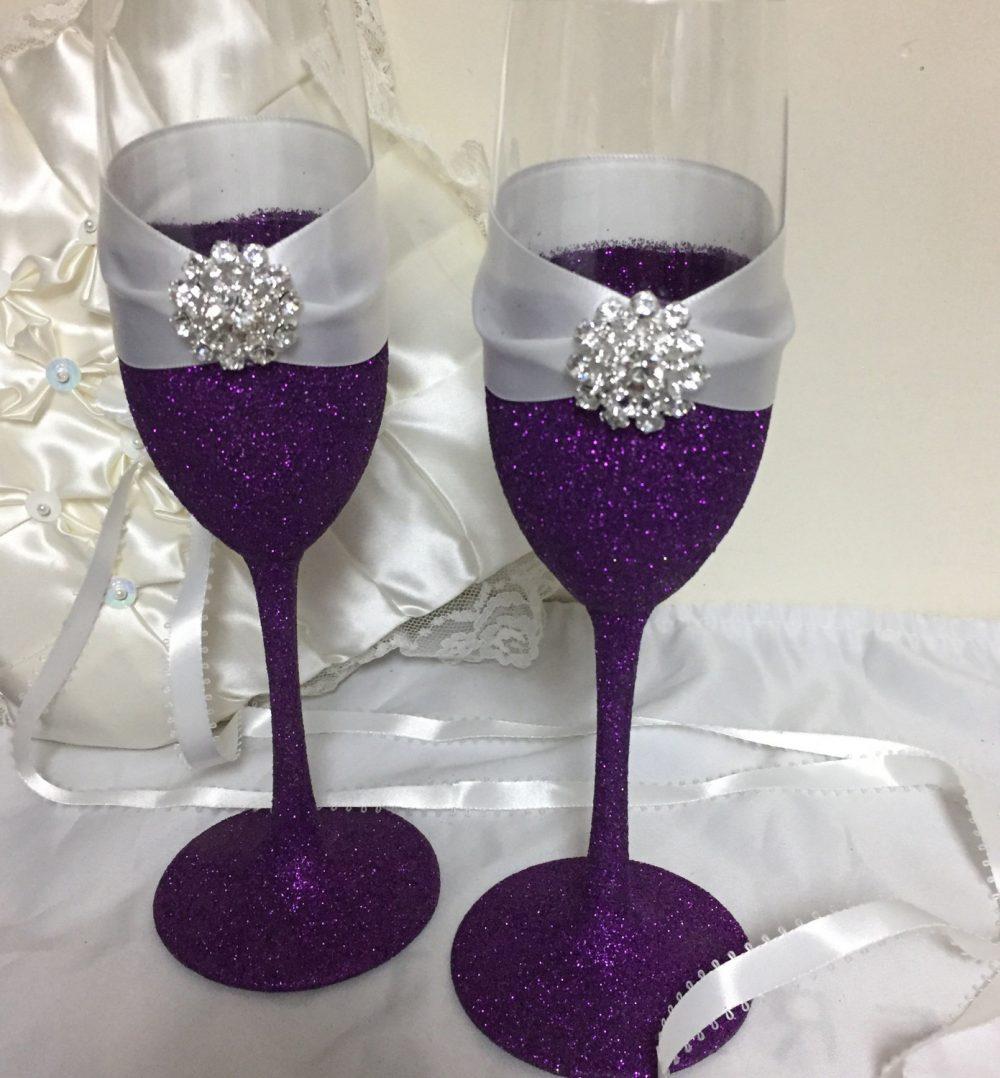 Wedding Toasting Flutes, Champagne Purple Glitter, Theme Wedding, Glasses, Flutes