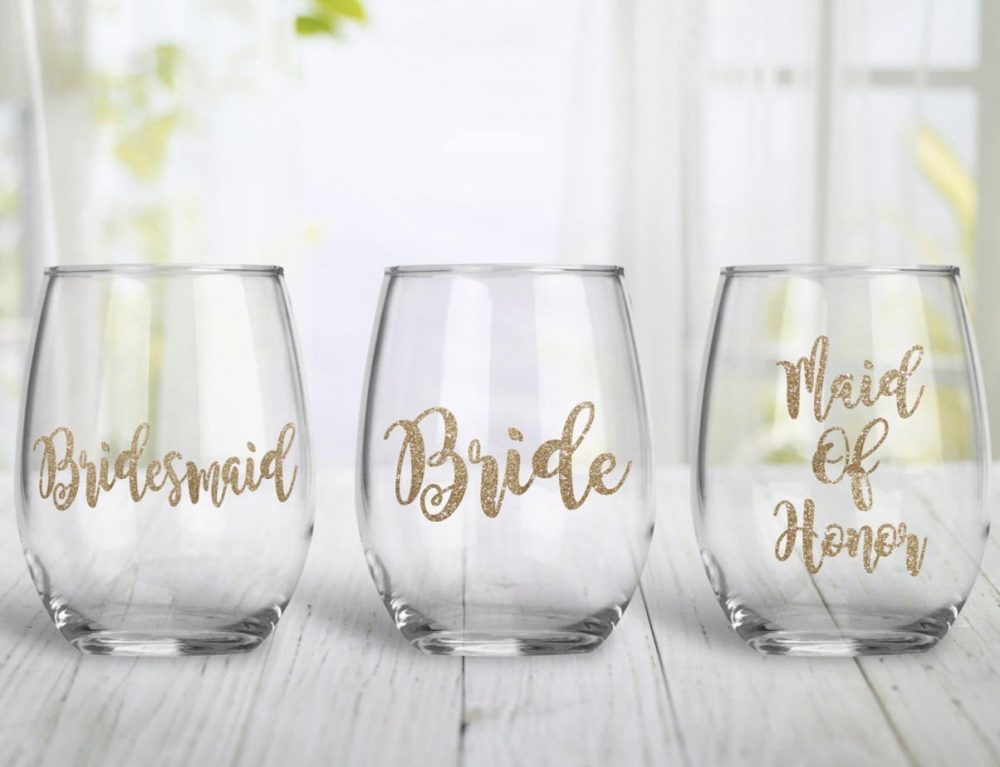 Glitter Bridesmaid, Bride, & Maid Of Honor Stemless Wine Glass Gift - Bridal Party Gifts Wedding Bridesmaid Proposal
