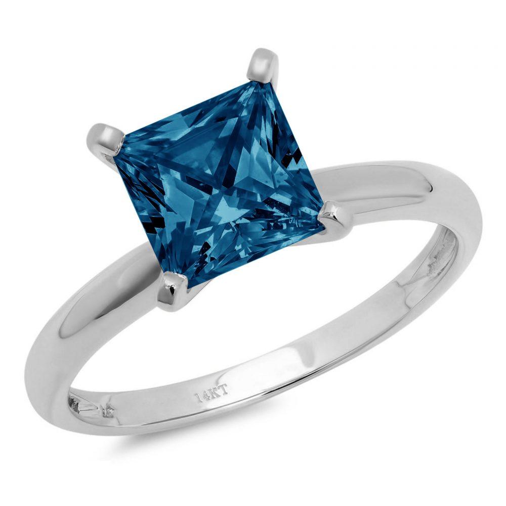 0.50 Ct Princess Cut Natural London Blue Topaz Classic Wedding Engagement Bridal Promise Designer Ring Solid 14K White Gold