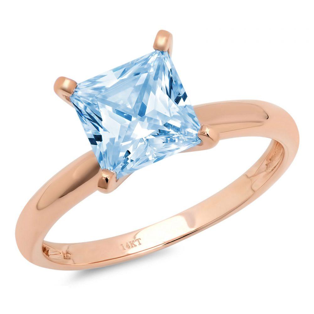 0.50 Ct Princess Cut Natural Sky Blue Topaz Classic Wedding Engagement Bridal Promise Designer Ring Solid 14K Rose Gold