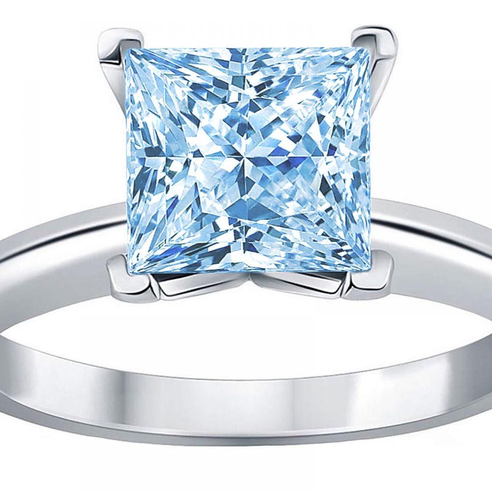 0.50 Ct Princess Cut Natural Sky Blue Topaz Classic Wedding Engagement Bridal Promise Designer Ring Solid 14K White Gold