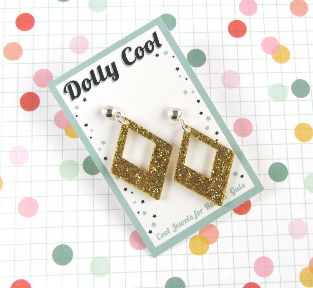 Gold Confetti Diamond Drops - Bright Glitter Acrylic 40S 50S Repro Vintage Style Novelty Atomic Retro