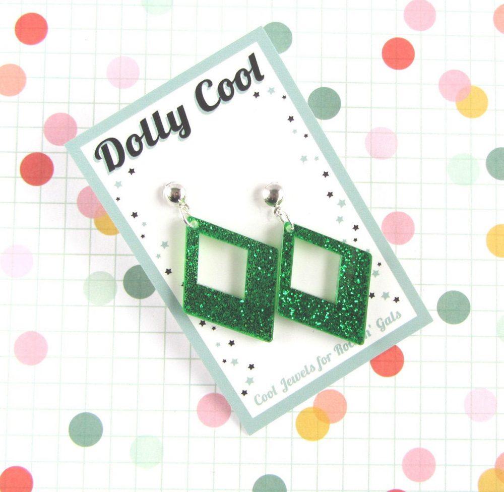 Green Confetti Diamond Drops - Glitter Acrylic 40S 50S Repro Vintage Style Novelty Atomic Retro