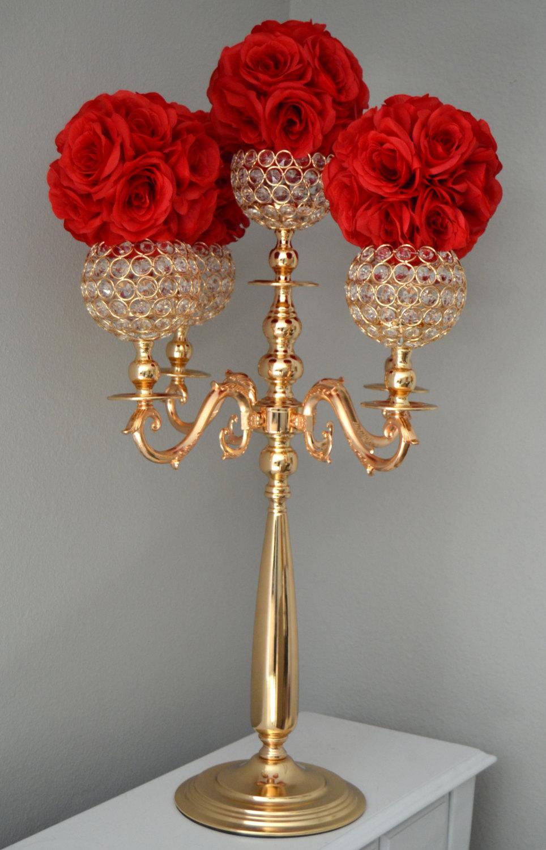Gold Candelabra. Gold Wedding Centerpiece . Candle Holder. Decor. Vase. Crystal Candelabra. Rhinestone