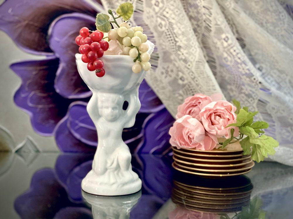 Ceramic Cherub Vase Pedestal Neoclassical Art Statue Candle Holder Victorian Figurine Welcome Baby Shower Newborn Church Wedding Bridal Gift