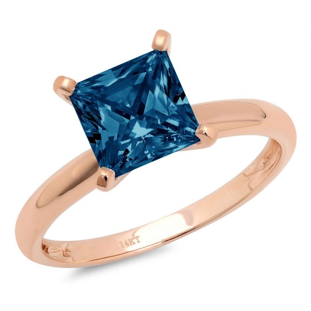 0.50 Ct Princess Cut Natural London Blue Topaz Classic Wedding Engagement Bridal Promise Designer Ring Solid 14K Rose Gold