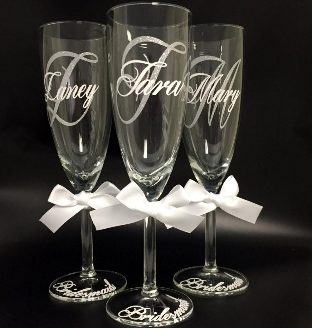 Bridesmaid Glasses, Bride & Groom Glasses, Glitter Vinyl Personalized Glasses