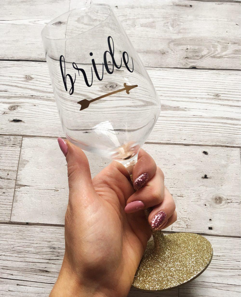 Glitter Glass - Personalised Wine Bridesmaid Wedding Gift Bride Tribe Hen Do Squad