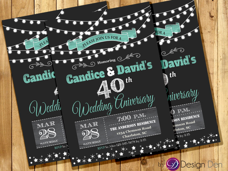 Wedding Anniversary Invitation Or Joint Birthday Invitation/string Light Invitation/Chalkboard/Combined Party/White & Teal. #w1002
